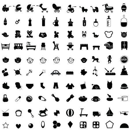 juguete: iconos del beb� para el beb� cosas, ni�o reci�n nacido, y otros Vectores