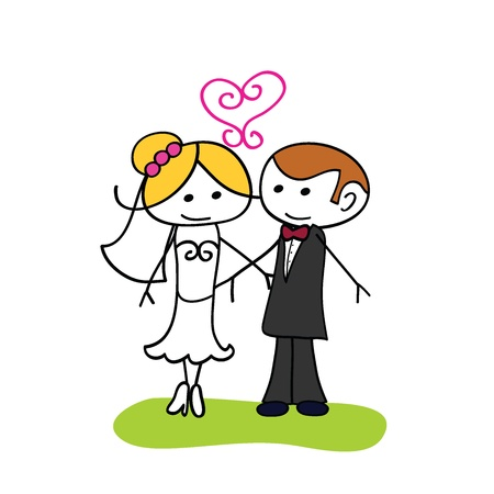 hyper: cute little couple wedding cartoon doodle for wedding Illustration