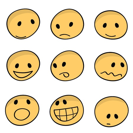 sad face: 9 sets of cartoon facial expressions icons Illustration