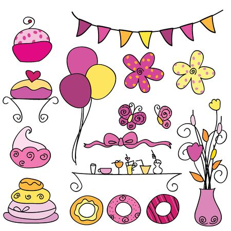 occasions: 16 sets of party items for parties, occasions and others Illustration