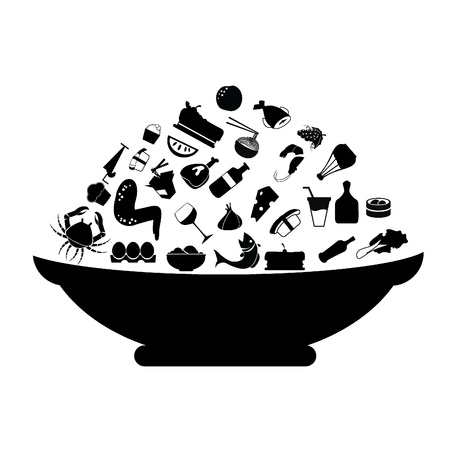 ice cream cup: food silhouettes concept for food stuff, restaurant, and others Illustration