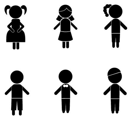 niño y niña: chico siluetas niña palo para los niños, los iconos, el concepto y otros