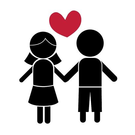 siluetas stick muchacha del muchacho de los niños, los iconos, el concepto y otros