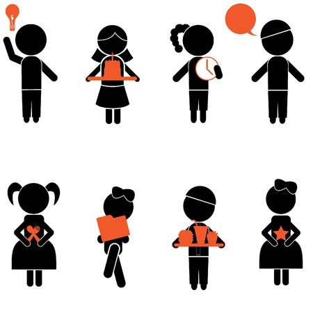 boy girl stick silhouettes for kids, icons, concept and others Vector