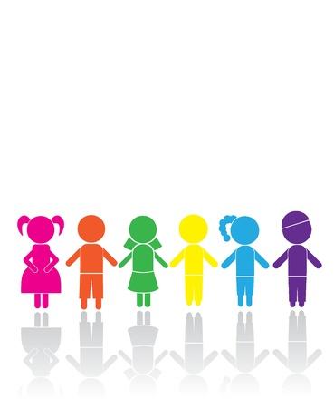 strichmännchen: Junge Mädchen-Sticks für Kinder, Geburtstag, Ikonen und andere Illustration