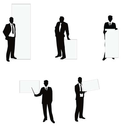 businessman silhouettes for company, business, meettings and icons Stock Vector - 14349154