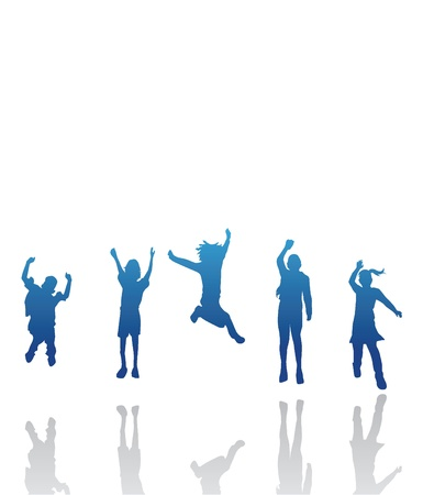 kids exercise: silhouettes kids jumping for children, fun, activity and others