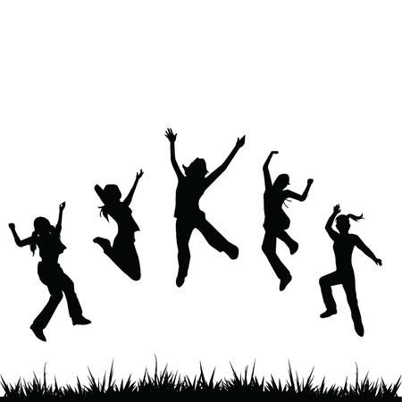 kind silhouet: silhouetten kinderen springen voor de kinderen, plezier, activiteit en anderen