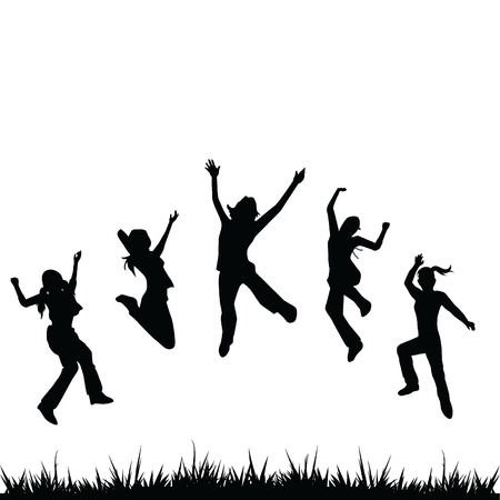 silhouettes kids jumping for children, fun, activity and others Stock Vector - 14349121