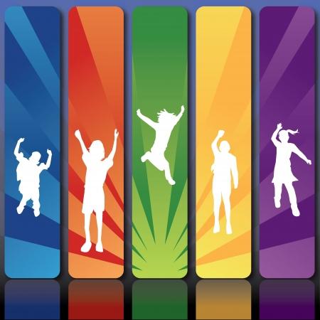 silhouetten kinderen springen voor de kinderen, plezier, activiteit en anderen