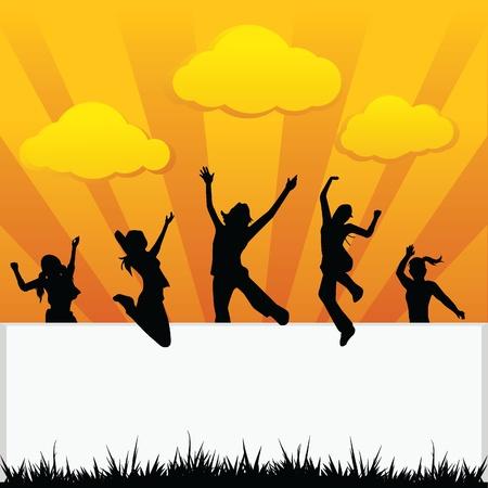 niños con pancarta: niños saltando siluetas de los niños, la actividad de la diversión, y otros