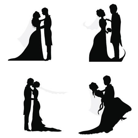 bruidspaar silhouetten voor bruiloft, gelegenheden, feesten en andere