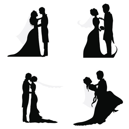 wedding couple  silhouettes for wedding, occasions, celebrations and others Stock Vector - 14349163