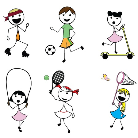 cartoon stick children active sports for activity, fun and sports