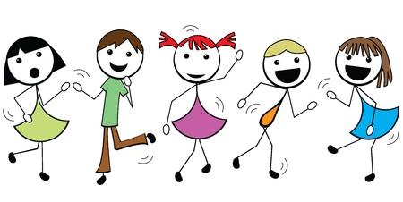 cartoon stick children active dancing and having fun Illustration
