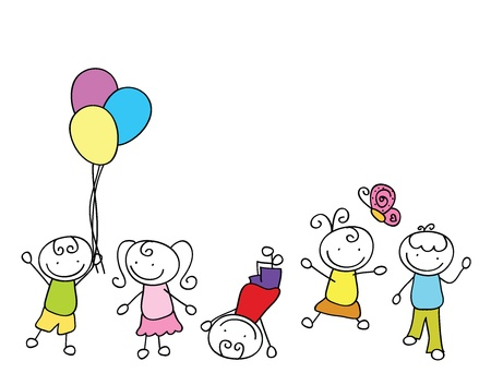 cartoon children doodle of party theme with balloons and butterfly