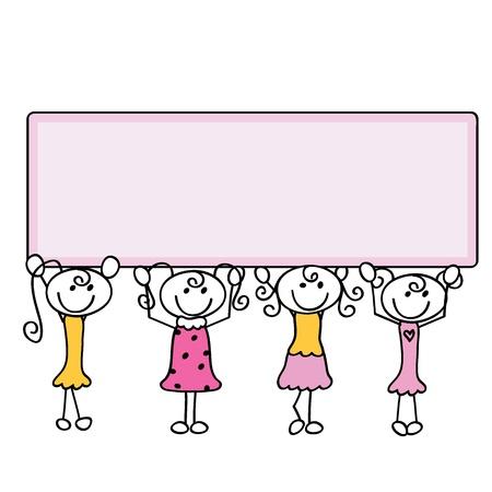 hyper: four little doodle cartoon girls carrying banner