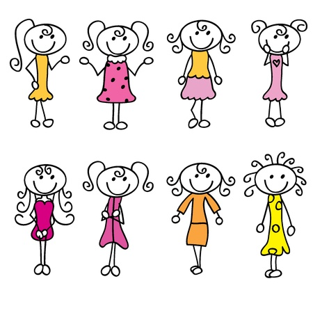 simple girl: cartoon girls doodle with fashion, and style Illustration
