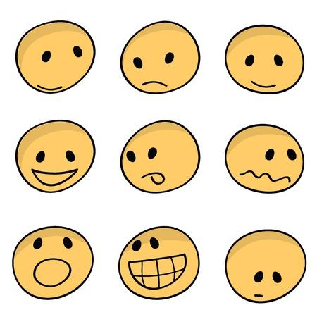 9 conjuntos de iconos animados expresiones faciales Ilustración de vector