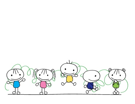 hyper: children doodle in line with scribble background Illustration