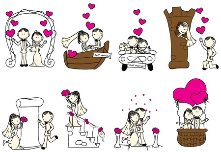 cute wedding couple with pink hearts Illustration