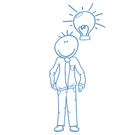 businessman with light bulb doodle - office, workplace, business
