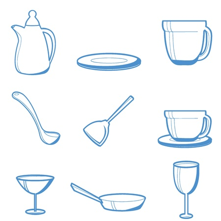 kitchen items -utensils for cook, food and others Stock Vector - 17015981