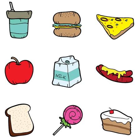 six cartoon food icons Stock Vector - 17234246