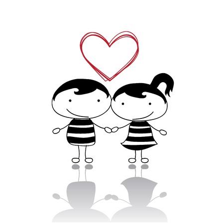 cartoon wedding couple: isolated love couples with heart