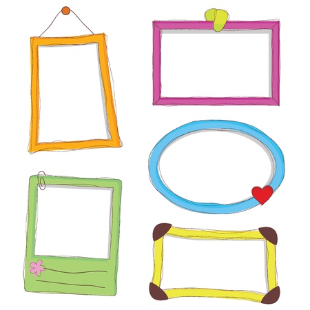 five doodle frames as photo frames and others Illustration