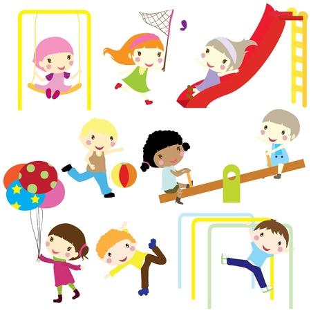niños en area de juegos: niños jugando activamente en el parque aisladas