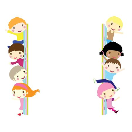 children popping out and waving background  Vector