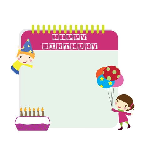 two children with birthday background Vector