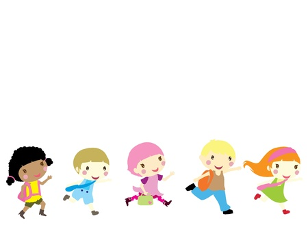 five little children running to school