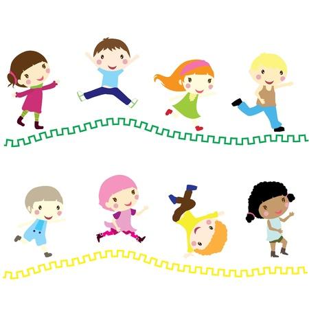 eight little children running to school Vector