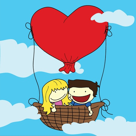 couple with balloons Vector