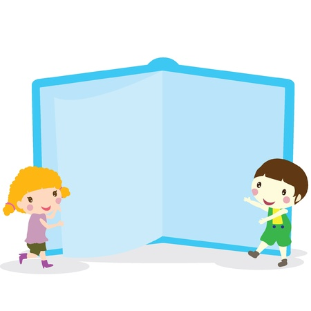 cover girls: two children with a blue giant book Illustration