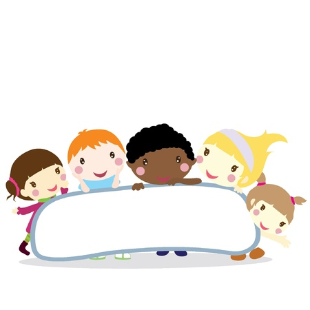 five smiling little children with board background Vector