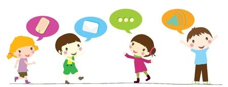 hyper: four smiling little children with speech bubbles Illustration