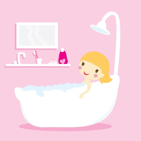 girl taking a bath in a bathtub with pink background Stock Vector - 17368352