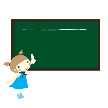 girl holding a chalk with black board Stock Vector - 17368358