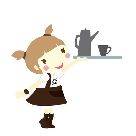 dinning: girl with tray for restaurant, dinning and others
