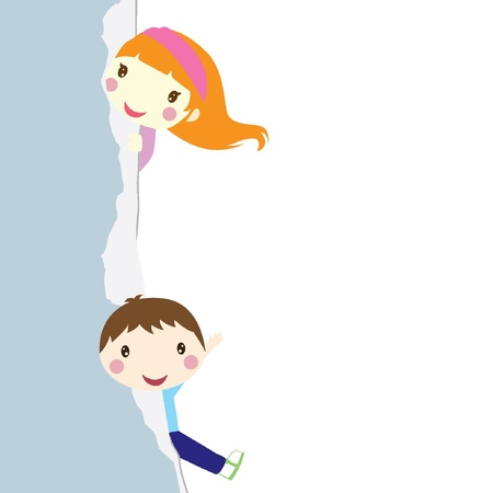 hyper: two children peeking out from a teared wall