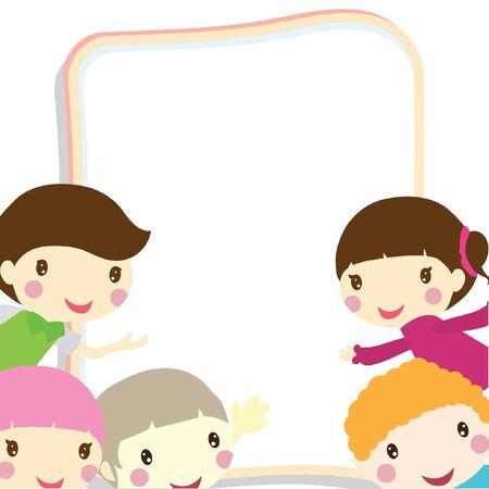 hyper: children peeking out from a white board
