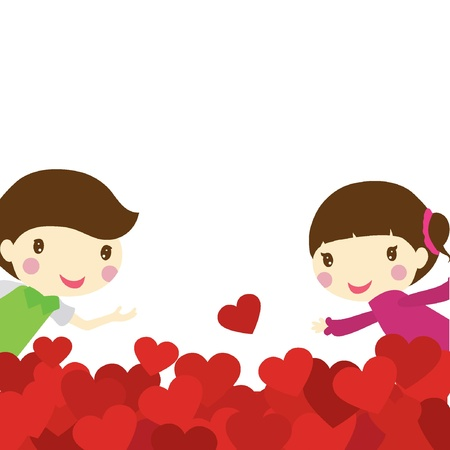 cute girl cartoon: two children peeking out from a heart shaped background