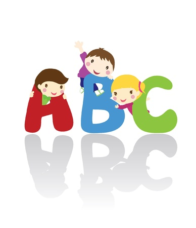 three children with peeking out from a teared wall Vector