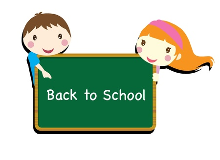 hyper: back to school two children with chalk board background