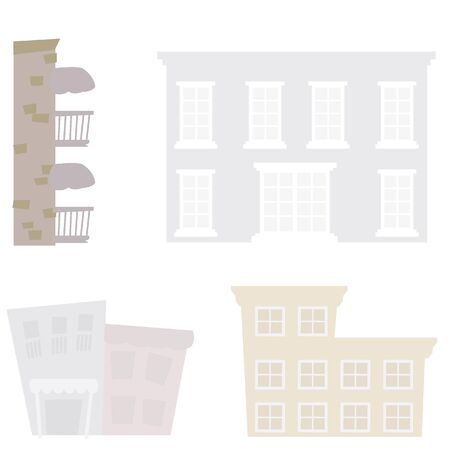 four isolated silhouettes buildings background with windows Stock Vector - 17545468