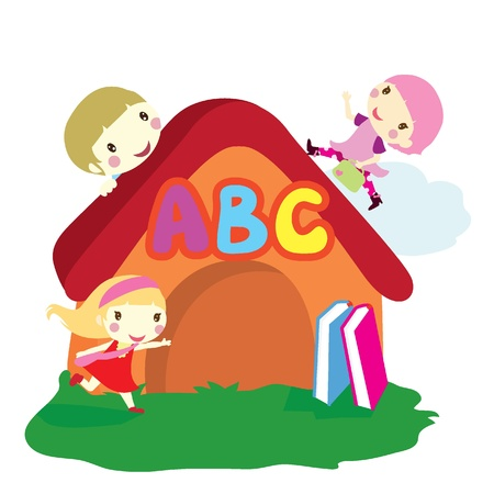 trois enfants: trois enfants � travers le fond maison avec un fond de livres