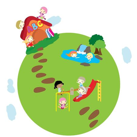 see saw: happy little children playing on earth background Illustration